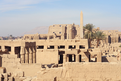 Ancient architectural scenery at the Precinct of Amun-Re in Egypt (Africa)