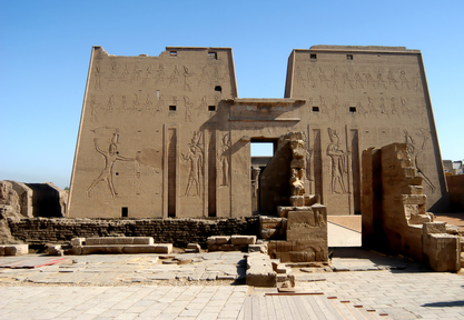 Ancient temple Edfu in Egypt, entrance view